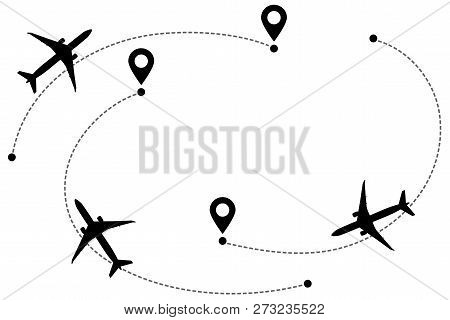 Airplane Line Path Vector Icon Of Air Plane Flight Routes. Aircraft Clip Art Icon With Route Path Tr