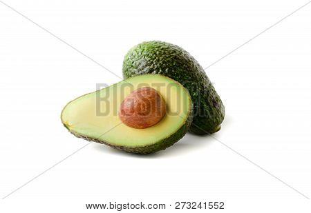 Fresh Avocado. Sliced Avocado Fruit Isolated On White Background,