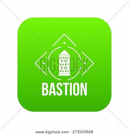 Bastion Icon Green Vector Isolated On White Background
