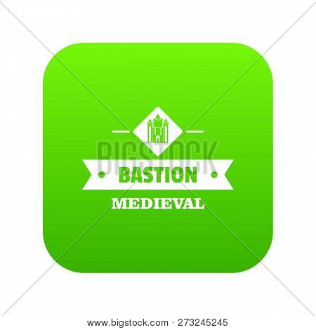 Victorian Bastion Icon Green Vector Isolated On White Background