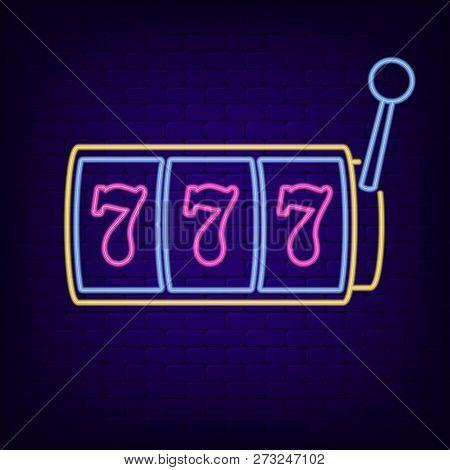 Neon Sign Of Slot Machine With Lucky Sevens Jackpot. Casino Gaming Machine - Night Light Neon Signbo