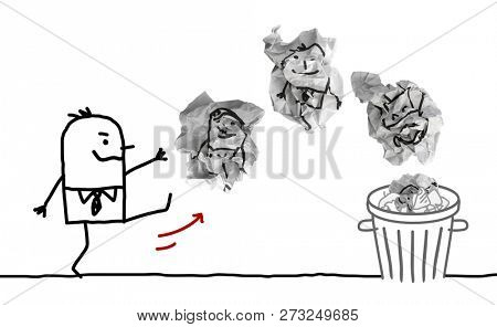 Cartoon Man Throwing Paper Dumplings with People in Trash Bin