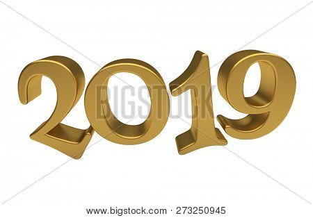 Happy New Year 2019, Golden 3D Numbers, New 2019 Year 3d Text on White Background, Greeting Card Design Template