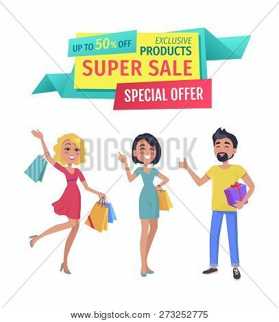 Exclusive Products For Super Sale Banner. Girls And Boy Shopaholic Friends With Purchases With Promo