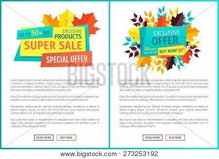 Super Sale Exclusive Deal Offer Autumnal Proposal. Posters Set With Banners And Leaves. Merchandise