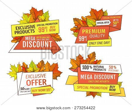 Price Tags Thanksgiving Offers. Exclusive Final Cost Promotional Labels With Maple Leaves, Oak Folia