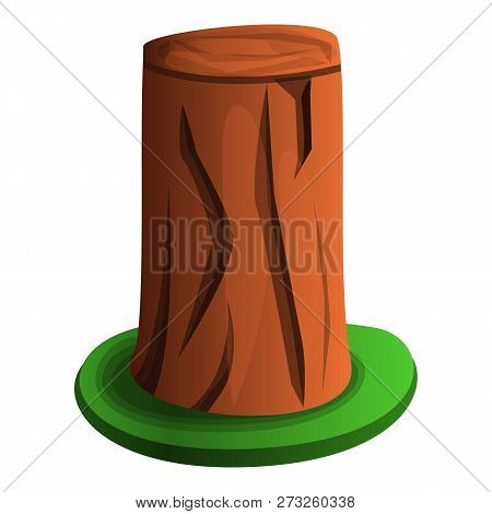 Tree Stump With Grass Icon. Cartoon Of Tree Stump With Grass Vector Icon For Web Design Isolated On