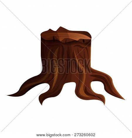 Old Forest Tree Stump Icon. Cartoon Of Old Forest Tree Stump Vector Icon For Web Design Isolated On