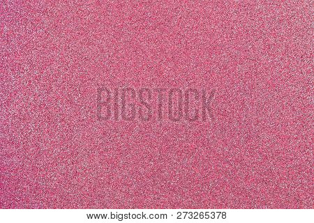 Rose Pink Colored Sand Paper Textured Background With Sparkles And Glitters