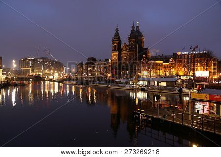 Amsterdam, Netherlands - December 6, 2018: Early Morning Canal View In Amsterdam, Netherlands. Amste
