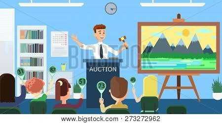 Auction House And Bidding Concept. Man Auctioneer With Gavel. Sales In Art Gallery. Landscape Painti