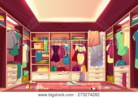 Messy Womans Walk In Closet, Dressing Room Interior Cartoon Vector With Scattered Clothing, Stained