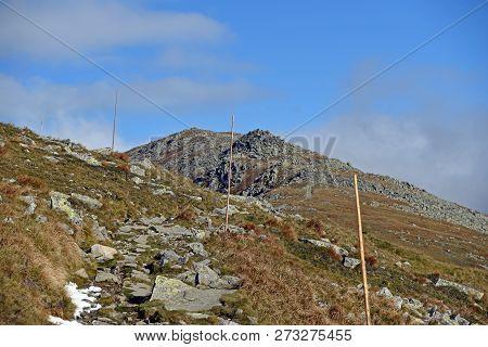 Autumn Nizke Tatry Mountains Near Derese Mountain Peak In Slovakia With Mountain Meadow, Hiking Trai