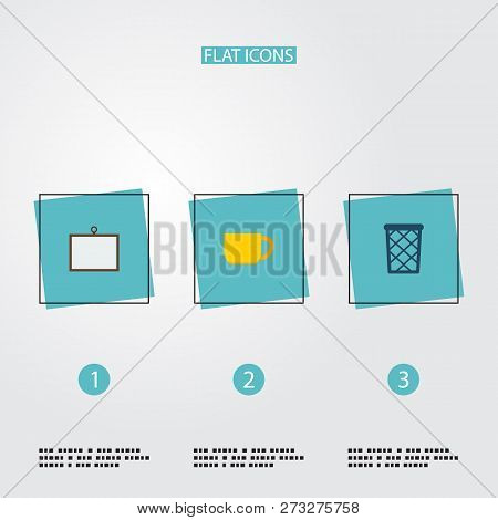 Set Of Workspace Icons Flat Style Symbols With Wastebasket, Desk, Cup And Other Icons For Your Web M