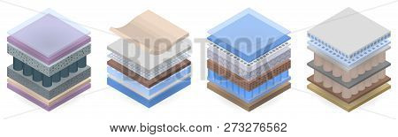 Mattress Layer Icon Set. Isometric Set Of Mattress Layer Vector Icons For Web Design Isolated On Whi