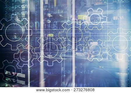 Gears Mechanism, Digital Transformation, Data Integration And Digital Technology Concept
