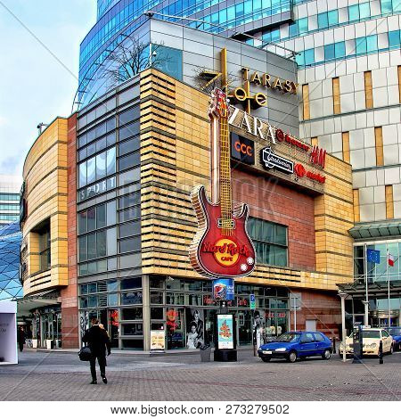 Shopping In Warsaw. Urban Landscape. Modern Architecture. Hard Rock Cafe. Zara. H&m. Shopping Mall G