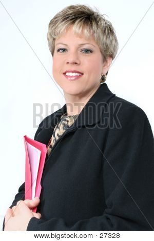 Business Woman With Red File Folder