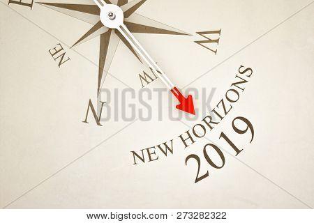 Vintage Compass New Horizons 2019 3d illustration