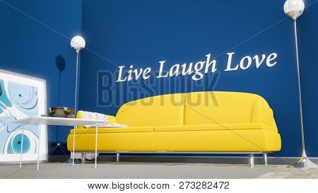An orange sofa in a blue room with the text live laugh love on the wall 3d illustration