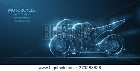 Motorcycle. Polygonal Wireframe Mesh On Blue Night Sky With Dots, Stars And Looks Like Constellation