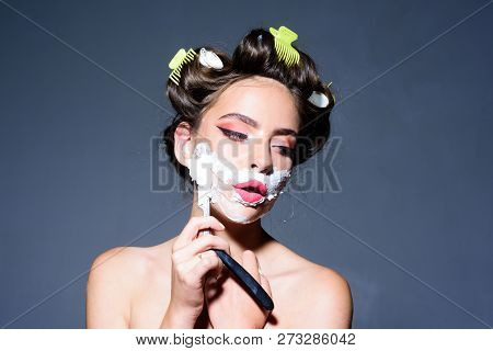 Pinup Girl With Fashion Hair. Pretty Girl In Vintage Style. Pin Up Woman With Trendy Makeup. Morning