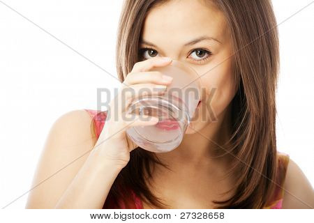 girl with a glass of water isolated