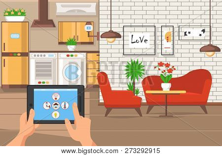 Interior Apartment Space. Architectural Agency Business. Hands holding Tablet. Home Project. Work in Architectural Bureau. Furnishings of Kitchen and Living Room Indor. Vector Flat Illustration. poster