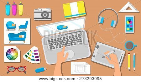 Workspace in Architectural Office. Graphic Interior Design Concept. Laptop, Color Palette, Tablet, Desktop Close Up. Work in Architectural Bureau. Smart House. Vector Flat Illustration. poster