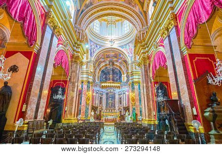 Mdina, Malta - June 14, 2018: The Beautiful Interior Of Saint Paul Cathedral In Mdina Fortress, On J