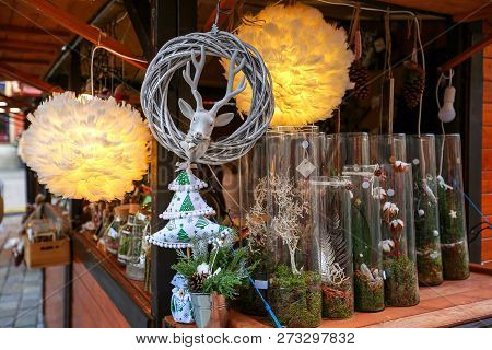 Eautiful Christmas Decor For Decorating House On Christmas Market. Wroclaw Xmas Market In Europe On