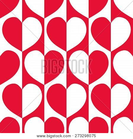 Modern Red And White Reflected Hearts With 60s Vibe On Striped Geometric Background As Seamless Vect