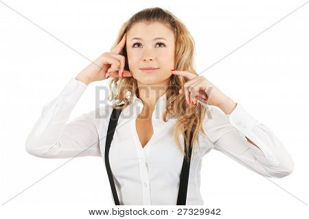Blonde business woman thinking isolated