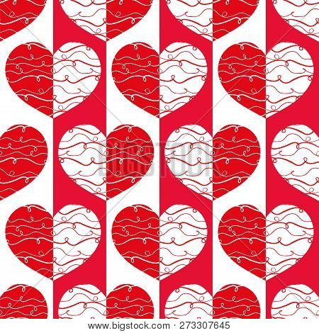 Funky Red And White Reflected Hearts With Doodle Lines On Striped Geometric Background As Seamless V