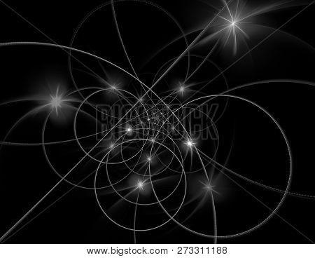 String theory. Physical processes and quantum theory. Quantum entanglement. An abstract computer generated modern fractal design on dark background. Abstract fractal color texture. poster