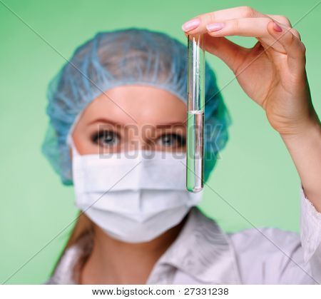researcher in the laboratory isolatated