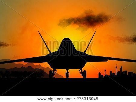 F-117 Stealth Military Aircraft In Sunset Illustration