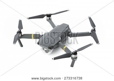 DJI Mavic Pro drone: Moscow, Russia - September 24, 2017. Quadcopter drone with camera isolated on white background.