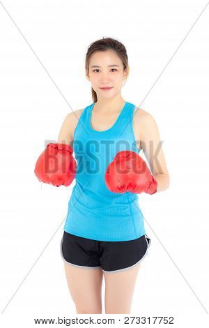 Beautiful Portrait Young Asian Woman Wearing Red Boxing Gloves With Strength And Strength Isolated O