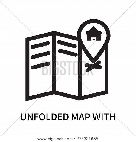 Unfolded Map With Location Mark Icon Isolated On White Background. Unfolded Map With Location Mark I