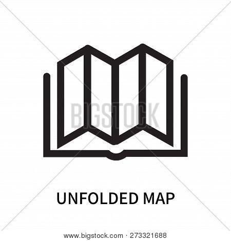 Unfolded Map Icon Isolated On White Background. Unfolded Map Icon Simple Sign. Unfolded Map Icon Tre