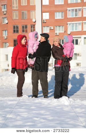 Two Yuong Woman And Grandfather With Children On The Walk 2