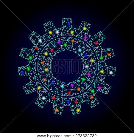 Glossy Polygonal Mesh Cog Icon With Glow Effect On A Dark Background. Carcass Cog Iconic Vector With