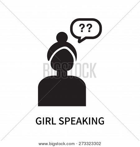 Girl Speaking Icon Isolated On White Background. Girl Speaking Icon Simple Sign. Girl Speaking Icon
