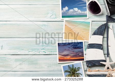 Travel vacation background concept with sunglasses, camera and weekend photos on wooden backdrop. Top view with copy space. Flat lay. All photos taken by me