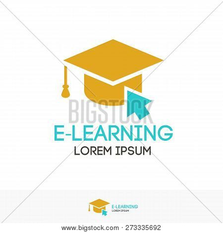 Vector Education Logo Color Style Isolated On Background With Academic Cap For Online School Symbol,