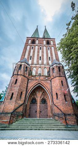 Facade Of Garrison Church Of Our Lady Queen Of Polish In Olsztyn, Poland