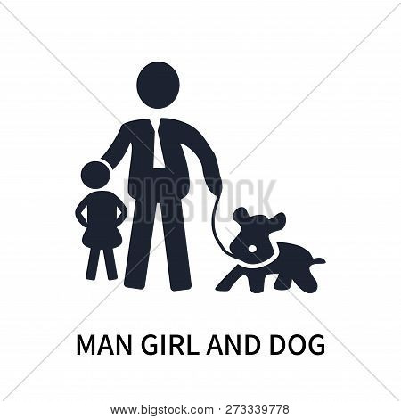Man Girl And Dog Icon Isolated On White Background. Man Girl And Dog Icon Simple Sign. Man Girl And