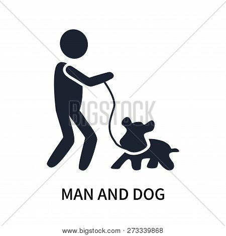 Man And Dog Icon Isolated On White Background. Man And Dog Icon Simple Sign. Man And Dog Icon Trendy