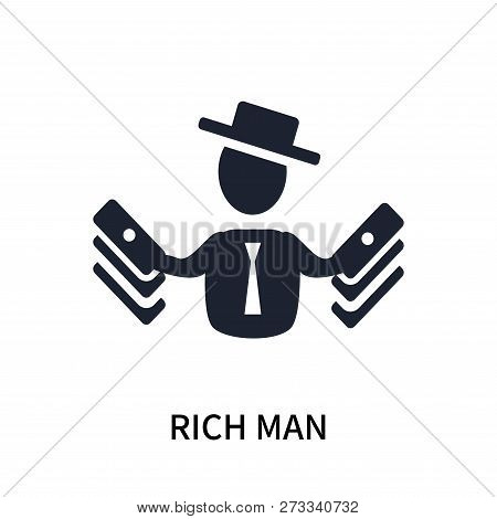 Rich Man Icon Isolated On White Background. Rich Man Icon Simple Sign. Rich Man Icon Trendy And Mode